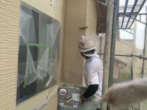 平松塗装店外壁塗装吹刷毛