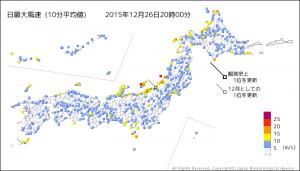 最大風速気象データ